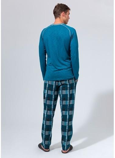 Dagi V Yaka Paçası Lastikli Uzun Kollu Pijama Takımı Petrol